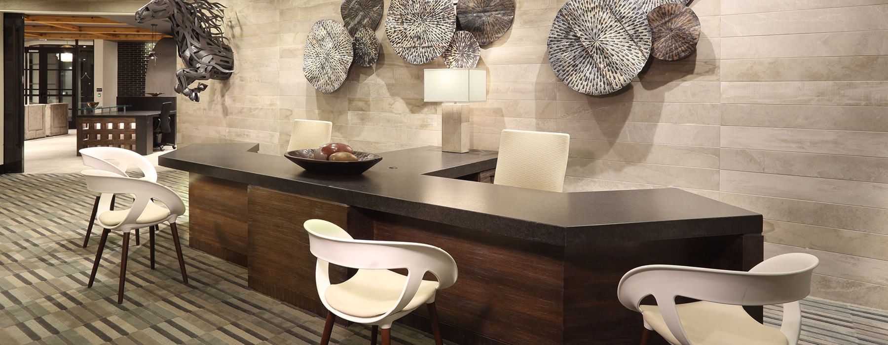 reception area in leasing center